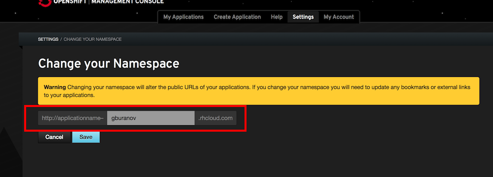 openshift_change_namespace